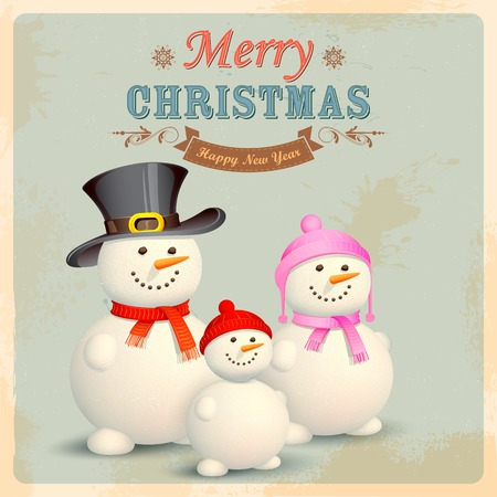 illustration of Snowman Family in Retro Christmas Background Vector