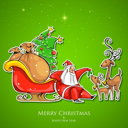 christmas sleigh: illustration of Santa Claus feeding reindeer in Christmas