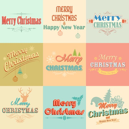 illustration of Merry Christmas labels with retro vintage styled design Vector