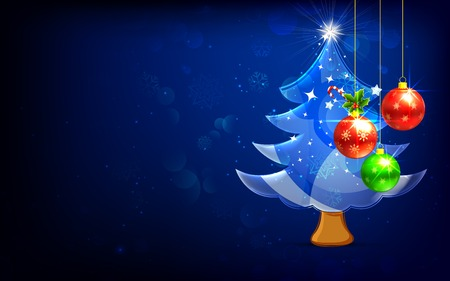 illustration of decorated bauble hanging in Christmas Tree Vector