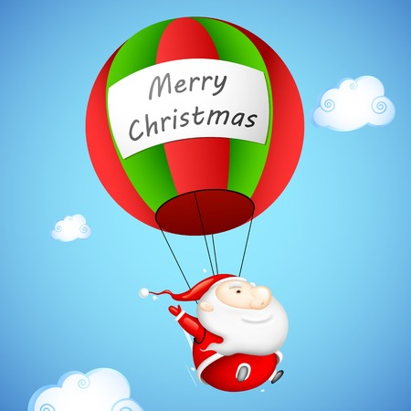 illustration editable: illustration of Santa Claus in parachute with Merry Christmas greetings Illustration