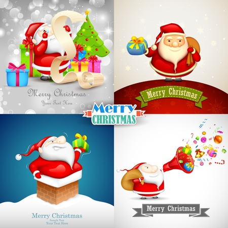 illustration of Merry Christmas background with Santa Claus Vector