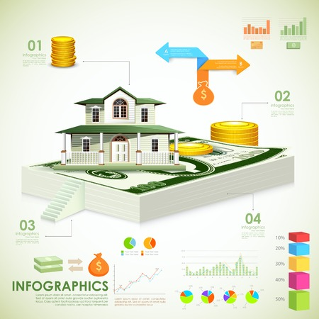 housing estate: illustration of Real estate Infographic showing housing related information