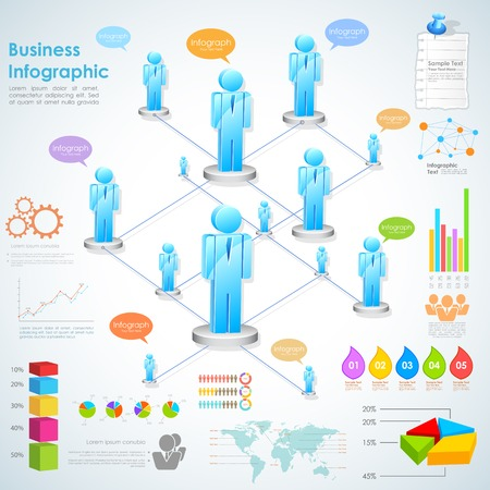 management system: illustration of business infographics with human network