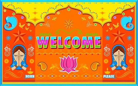 carretilla de mano: ilustración de fondo de bienvenida en el estilo de la pintura india Truck Vectores