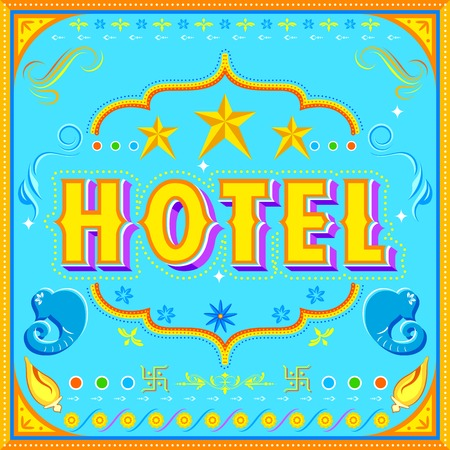 illustration of hotel poster in Indian truck paint style Vector