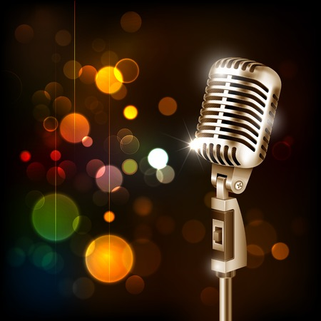 illustration of Vintage Microphone on abstract bokeh background Vector