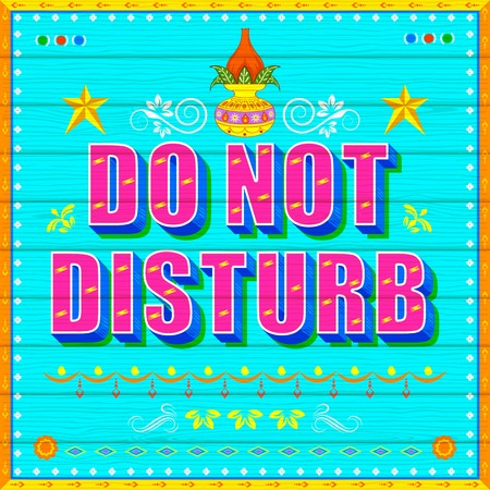 illustration of Do No Disturb Poster India truck paint style Vector