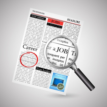 job searching: illustration of searching job in newspaper with magnifying glass