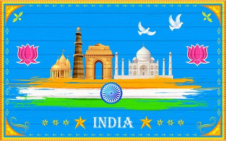 illustration of India background in truck paint style Vector