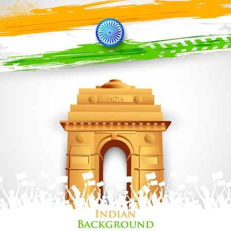 india gate: illustration of India Gate with Tricolor Flag