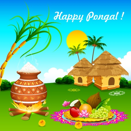 sugarcane: illustration of Happy Pongal greeting background