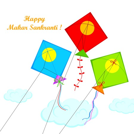 pongal: illustration of Makar Sankranti wallpaper with colorful kite