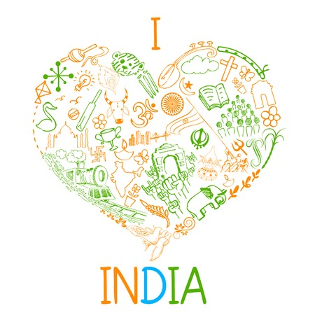 illustration of I love India doodle Vector