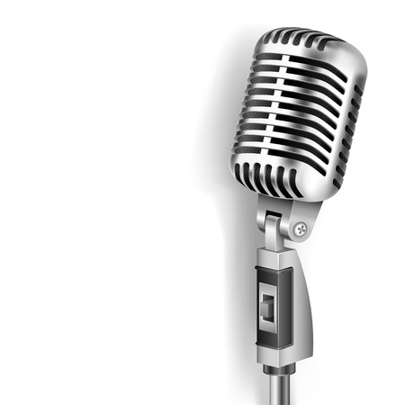 vocal: illustration of Vintage Microphone on white background Illustration