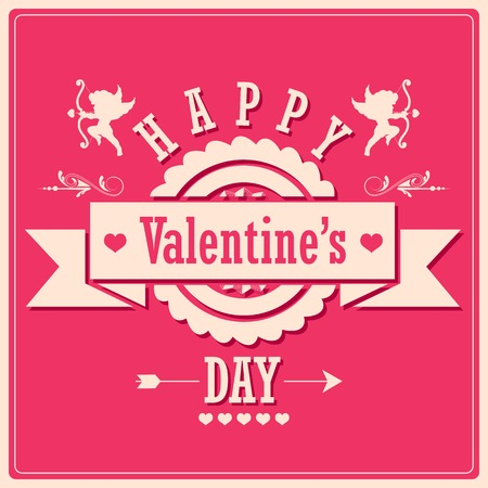 illustration of retro love background for happy valentines day card Vector