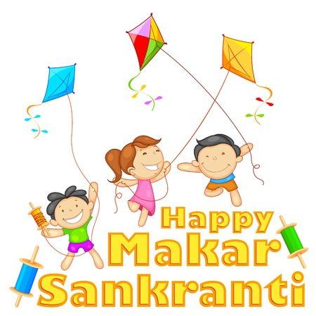 happy asian family: illustration of Makar Sankranti wallpaper with colorful kite