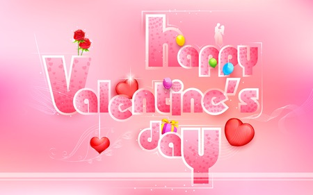 truelove: illustration of Happy Valentines Day card with love element