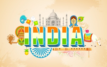 bandera de LA INDIA: ilustración de la India de fondo que muestra la diversidad cultural