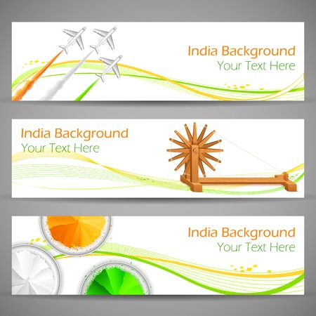 independence day: illustration of set of banner and header for colorful India