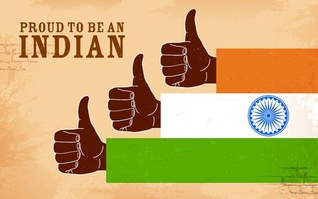 bandera de la india: ilustración de la mano en la India tricolor que muestra orgulloso de ser un indio