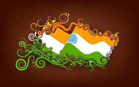 illustration of abstract floral Indian flag Vector