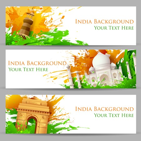 illustration of set of banner for colorful India with monument Vector