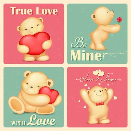 illustration of teddy bear in retro love background Vector