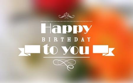 animados: ilustración de feliz cumpleaños de la tipografía de fondo