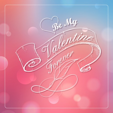 illustration of retro Happy Valentines Typography Background Vector