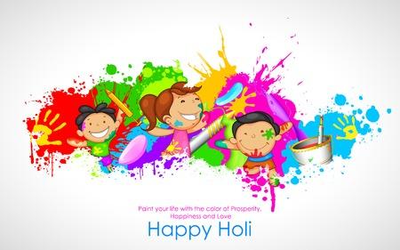 bambini che suonano: illustrazione di bambini che giocano Holi con il colore e pichkari