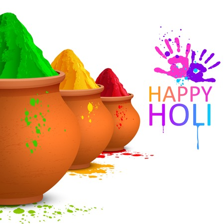 dyed: illustration of colorful gulal ( colors powder ) for Happy Holi
