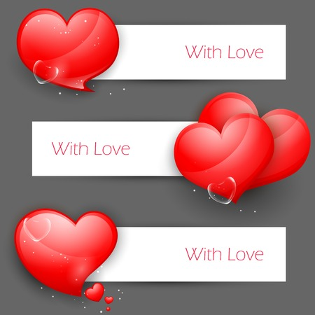 truelove: illustration of set of love banner with heart