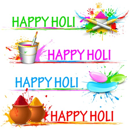 colorful holi: illustration of colorful gulal ( colors powder ) for Happy Holi