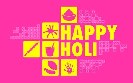 holi: illustration of colorful Happy Holi flat design background Illustration