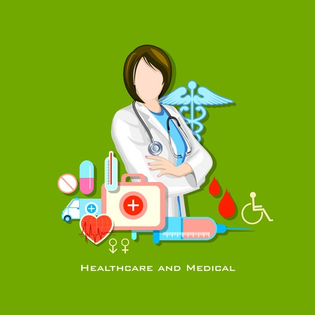 cure: illustration of healthcare and medical concept with doctor in flat style