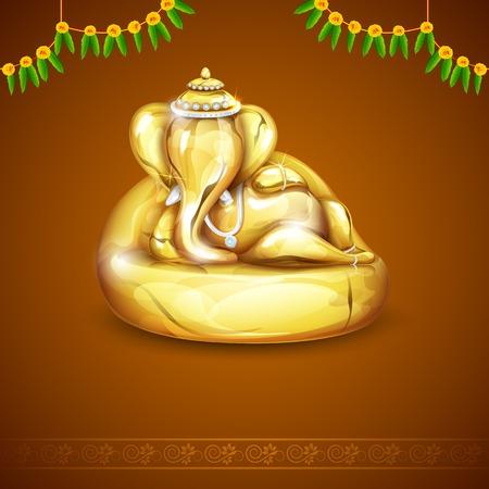 ilustración de la estatua de Ganesha de oro de Ganesh Chaturthi Vectores