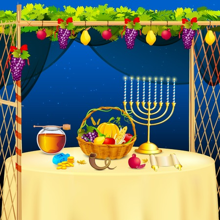 thatched: vector illustration of decorated sukkah for celebrating Sukkot