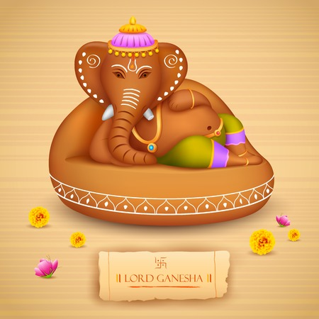 seigneur: illustration de la statue de Ganesh faite d'argile Ganesh Chaturthi Illustration