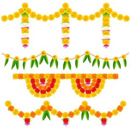 お祭りの装飾のためのカラフルなフラワーアレンジメントのイラスト