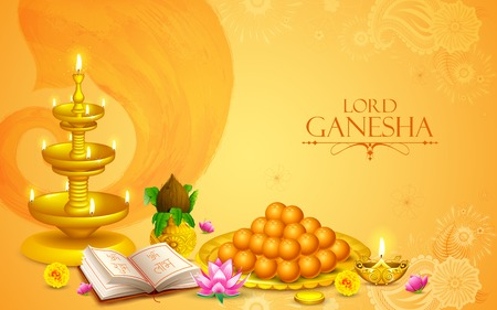 illustration of statue of Lord Ganesha with sweet and holy object