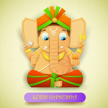 paper sculpture: illustration of statue of Lord Ganesha made of paper for Ganesh Chaturthi