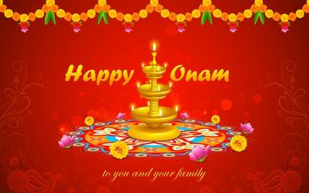 malayalam: illustration of Happy Onam decoration with diya and rangoli Illustration