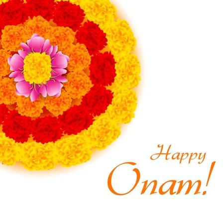 cempasuchil: ilustraci�n de la decoraci�n rangoli flor para Onam Vectores