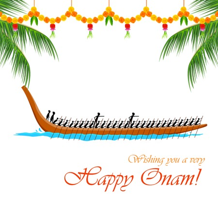 kerala culture: illustration of Boat Race of Kerla on Onam