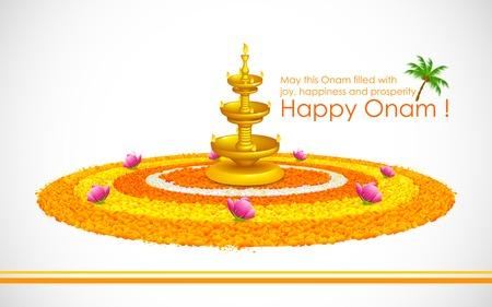 feestelijke opening: illustratie van Happy Onam decoratie met diya en rangoli