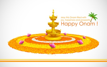 onam: illustration of Happy Onam decoration with diya and rangoli Illustration