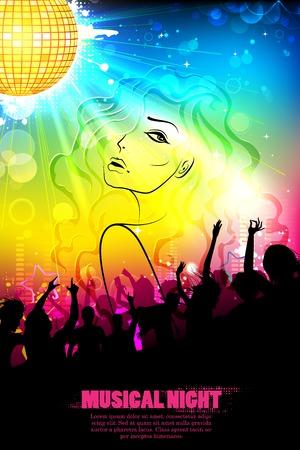 applauding: illustration of stylish woman on DJ musical background Illustration