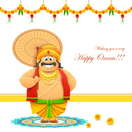 kerala culture: illustration of King Mahabali in Onam background