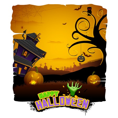 ghostly: illustration of abandoned haunted house in halloween night